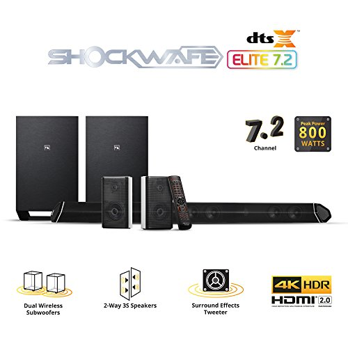 Nakamichi Shockwafe Elite 7.2Ch DTS:X 800W 45-Inch Sound Bar System with Dual 8' Wireless Subwoofers & 2-Way Rear Satellite Speakers