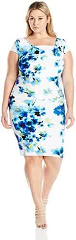 Adrianna Papell Women's Plus Size Stretch Crepe Drape Front