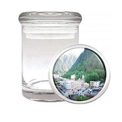 "Medical Glass Stash Jar Alaska Scenic Sights S5 Air Tight Lid 3"" x 2"" Small Storage Herbs & Spices"