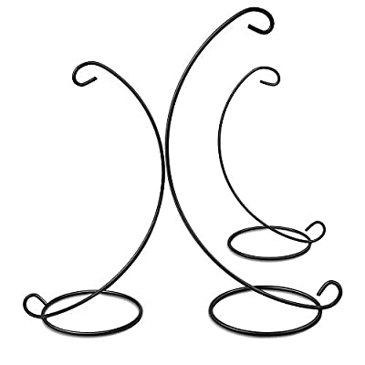 Senignol 3 Sizes Ornament Display Stands, 3 Pack Iron Hanging Stand Rack Holder for Hanging Glass Globe Air Plant Terrarium, Wedding Decoration/Family Party Decoration(Black, 9 inch/11 inch/13 inch)