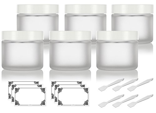 Frosted Clear Glass Straight Sided Jars with White Foam Lined Lids - 2 oz (6 Pack) + Spatulas and Labels