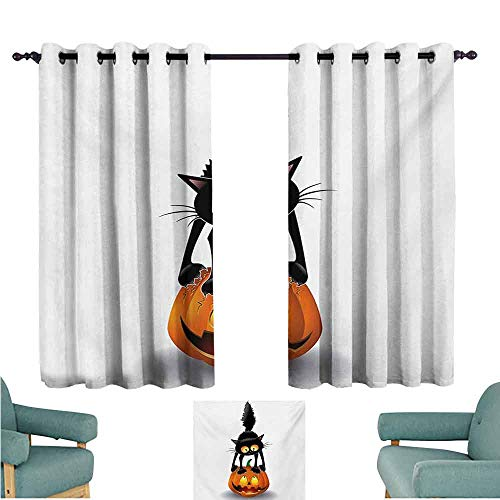 DONEECKL Customized Curtains Halloween Black Cat on Pumpkin Drawing Spooky Cartoon Characters Halloween Humor Art Blackout Draperies for Bedroom Window W63 xL45 Orange Black -