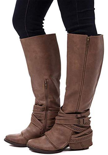 Equitation Hautes Chaussures Boucle Yogly Longue Knee Eclair Marron Femme Cuir Hiver Fermeture Biker Boots Bottes xYfB4xS