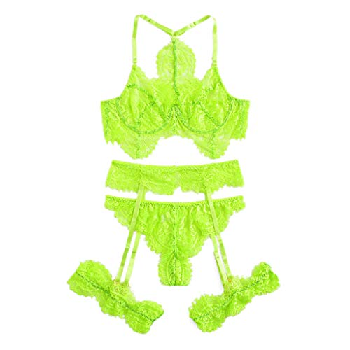 POQOQ Sexy Exquisite Lace Lingerie Bra+Garter+Briefs Set Babydoll Cut-Out Sleepwear(Green,L)
