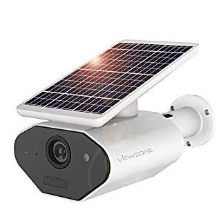 ViewZone Solar Powered Security Camera L4, With 6400Mah Rechargeable Battery Solar WiFi Camera, Waterproof Outdoor Wireless Security Battery Camera, Multi-Users, Motion Detection Alarm