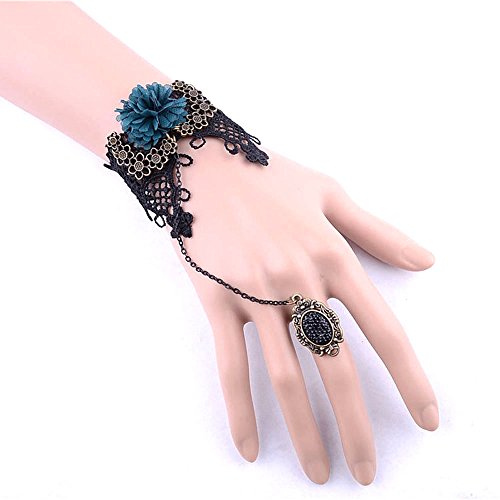 black floral lace bracelet - Ink-blue colour flowers pendant DIY charm vintage bracelet with ring chain - Prom Queen Halloween Costume Diy