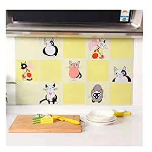 Kitchen anti-oil wallpaper tiles self-adhesive wallpaper cabinets stove anti - oil waterproof high temperature kitchen stickers