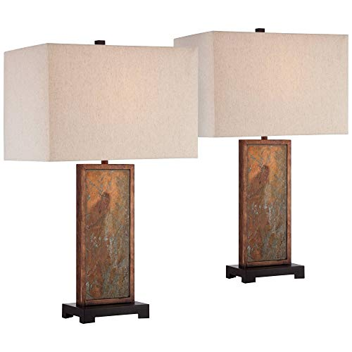Yukon Modern Table Lamps Set of 2 Natural Slate Stone Rectangular Box Shade for Living Room Family Bedroom Bedside – Franklin Iron Works