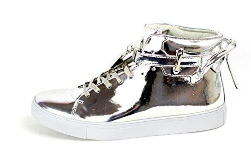 Hombres Con Cordones Fiesta Zapatillas Casual Diseñador Zapatillas De Moda Bota Alta Zapatos Plateado