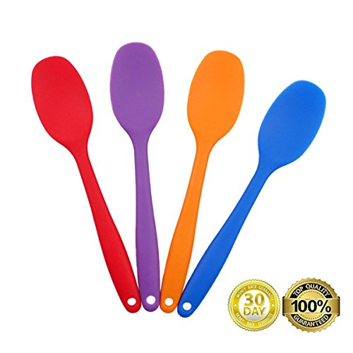 Always Your Chef 4 Pack 8.2 Inches/Small Premium Silicone Mixing Spoons for Kitchen, Cooking, Baby, Baking, Mixing Salad and More,2 Random -
