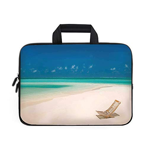 Seaside Laptop Carrying Bag Sleeve,Neoprene Sleeve Case/Deck Chair on a Sandy Tropical Beach Relaxing Holidays Seascape Picture/for Apple MacBook Air Samsung Google Acer HP DELL Lenovo AsusIvory Blue ()