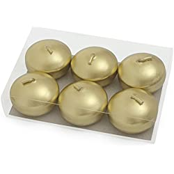 Gold Floating Candles 2 Inch Metallic Discs for Bowls Vase Holiday Table Centerpiece Decoration 6 Pack