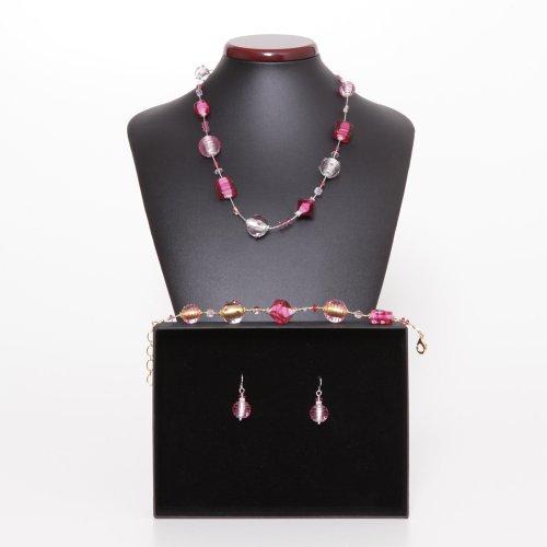 Parure jojo rose Veritable bijoux en verre de Murano, Venise