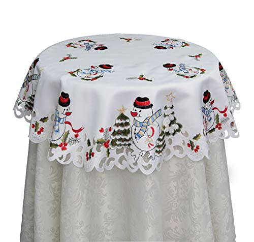 Creative Linens Holiday Embroidered Snowman and Christmas Tree Table Cloth 33