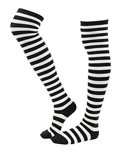 WowFoot Women Cotton Over-The-Knee Thigh High Socks Girls Stockings (B-White and Black), One Size (Black And Yellow Striped Nylon Stockings)