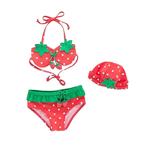 ARSTART Baby Girls Cute Strawberry Bathing Suits Halter Two-Pieces Bikini Set with Hat Tankini Swimsuits (tag 3 (30~38 lb), Red)