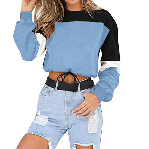 Gergeos Womens Splcing Color O-Neck Sweatshirt Pullover Long Sleeve Blouse(Blue,L) ()