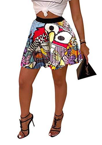 Pleated Chiffon Mini Skirt - MONASAMA Women Color Block Graffiti Letter Print Cartton Pleated A Line Mini Party Skirt White Eyes Short S