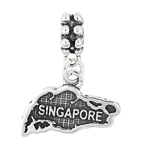 Sterling Silver Dangle Map of Singapore Bead Charm Jewelry Making Supply Pendant Bracelet DIY Crafting by Wholesale Charms for $<!--$57.47-->