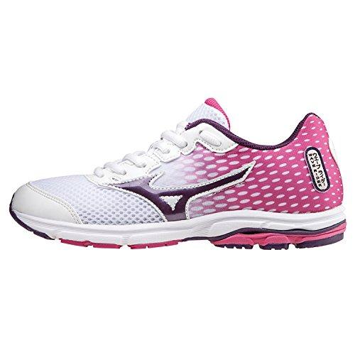 Mizuno Schuh Running Sneaker Mädchen Wave Rider 18Weiß Violett Fuchsia