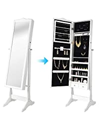 SortWise ® Lockable Floor Standing Wooden Jewelry Cosmetic Mirror Cabinet Chest Armoire Wardrobe Storage Organizer, with Lock & Mirrored Door for Bedroom Home (White)