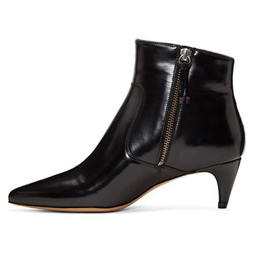Water 4 Booties Ankle Comfortable Toe Heels Size Proof Women US 15 Dressy Kitten Black FSJ Shoes Pointy w8F4qn