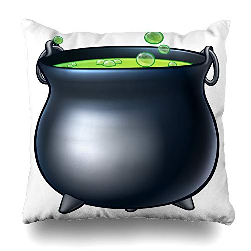 Pakaku Decorativepillows Case Throw Pillows Covers for Couch/Bed 18 x 18 inch, Cartoon Halloween Witchs Magic Cauldron Home Sofa Cushion Cover Pillowcase Gift Bed Car Living Home