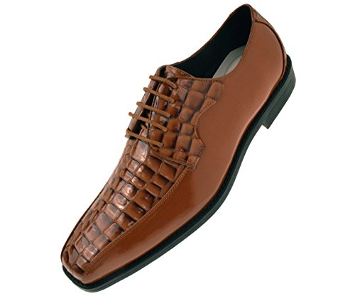(Bolano Mens Exotic Faux Crocodile Print Patent Formal Oxford Dress Shoe, Comfortable Lace-Up Design Cognac)