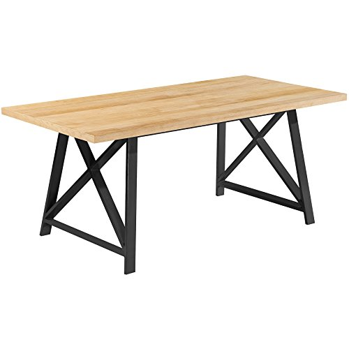 2xhome Light Wood - Modern Wood Table Grey Steel Metal Legs Frame Dining Table 71