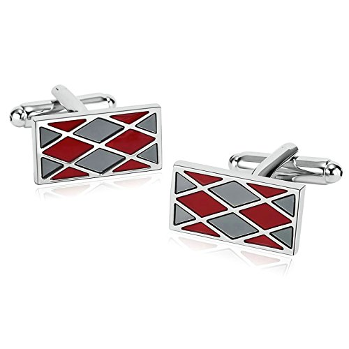 - Aooaz Novelty Stainless Steel Mens Cufflinks Enamel Rhombus Rectangle Gray Red Cufflinks With Gift Box