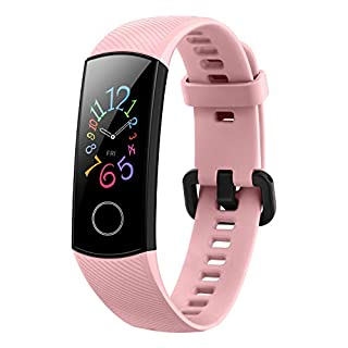 41zvsgNftsL. SS320 HONOR Band 5 (CoralPink)- Waterproof Full Color AMOLED Touchscreen, SpO2 (Blood Oxygen), Music Control, Watch Faces…
