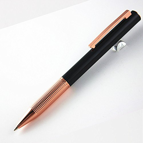 New Ballpoint Black and Rose Gold Metal Pen with Gift Pen Box, (DB-MetalPen-Black002) free shipping