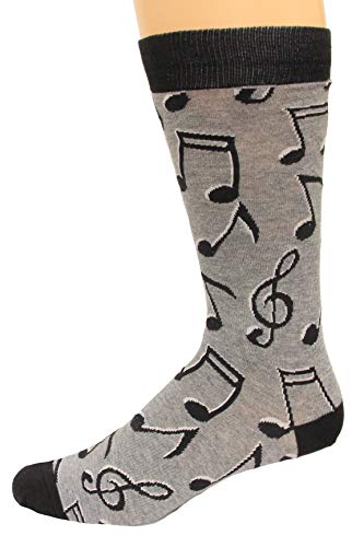 K. Bell Socks Men's Music to My Ears Novelty Crew Socks, Notes (Charcoal), Shoe Size: 6-12