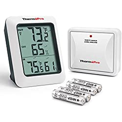 ThermoPro TP60S Digital Hygrometer Indoor Outdoor Thermometer Humidity Monitor with Temperature Gauge Humidity Meter, Wireless Outdoor Hygrometer, 200ft/60m Range