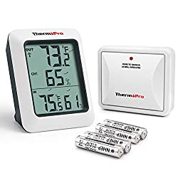 Thermopro Tp 60s Digital Hygrometer Indoor Outdoor Thermometer Humidity Monitor With Temperature Gauge Meter Wireless 200ft 60m Range White