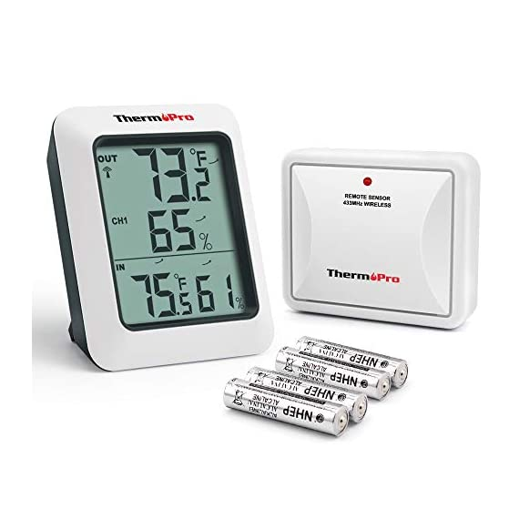 ThermoPro TP-60S Digital Hygrometer Indoor Outdoor Thermometer Humidity Monitor, with Temperature Gauge Meter, Wireless, 200ft/60m Range, Thermometer & Hygrometer 1 Buy without risk! - Thermopro TP60S digital indoor outdoor hygrometer displays temp and humidity for both inside and outside simultaneously【1 YEAR WARRANTY! REGISTER your product after purchase and RECEIVE EXTENDED 3 YEARS Warranty】. Wireless humidity meter thermometer measures indoor outdoor temperatures and humidity percentages, can display the readings from up to 3 outdoor remote sensors 【additional 2 sensor (ASIN B072BY1M2V) can be ordered】to monitor different locations. Temperatures display in °F or °C All time/24 hours MAX & MIN humidity temperature and humidity percentages records. Temperature trend arrows indicate whether it's getting warmer or colder near remote sensor.