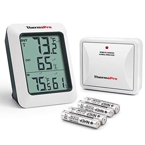 ThermoPro TP-60S Digital Hygrometer Indoor Outdoor Thermometer Humidity Monitor, with Temperature Gauge Meter, Wireless, 200ft/60m Range, Thermometer & -