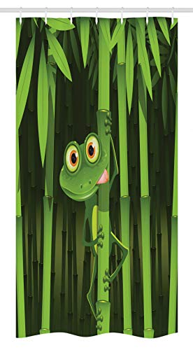 Ambesonne Animal Stall Shower Curtain, Funny Illustration of Friendly Fun Frog on Stem of The Bamboo Jungle Trees Cute Nature, Fabric Bathroom Decor Set with Hooks, 36 W x 72 L Inches, Green