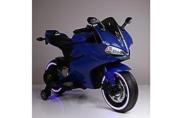 BC Babycoches-Moto electrica 12 V para niños Ducati Style Superbike, Asiento Polipiel, indicador bateria, ruedines, Equipo Audio. Azul