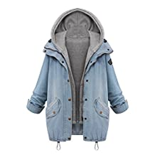 Jueshanzj Womens Coats Denim Jacket Hooded Thick Outerwear