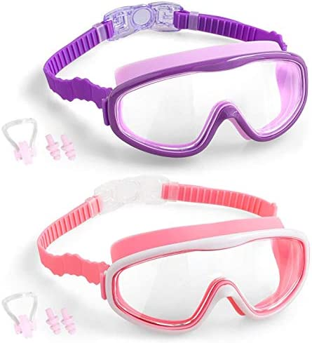 COOLOO Kids Swim Goggles, 2-Pack Wide Vision Swimming Goggles for Children Toddler and Early Teens from 4 to fifteen Years Old, Swim Glasses No Leaking, Anti-Fog, Waterproof
