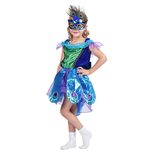 EraSpooky Girl's Princess Peacock Costumes, Large ()