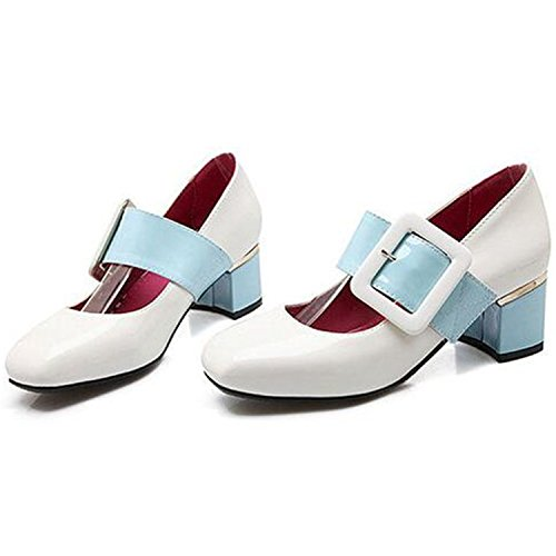 Sellwend Women's Sexy Color Block Buckled Velcro Square Toe Chunky Mid Heel Patent Leather Dress Pumps Shoes White9 B(M) US Active demand