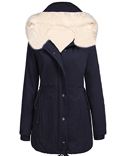 Women Winter Fleece Coat Hooded Faux Fur Trench Coat Jacket Parka - 4