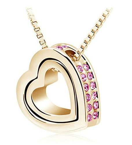 Necklace Chain Extender Double Heart Pendant Sweater Chain Necklace Charm Women Jewelry Gold - Mall The Natick