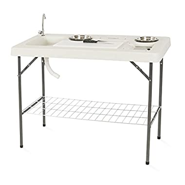 Onebigoutlet© Fishing Table Outdoor Cutting Fillet Hunting w/ 2 Bowl Faucet Bbq Tailgate