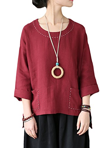 Hi Low Hem Top - Mordenmiss Women's Linen Round Neck Hi-low Hem Top Blouses with Pocket Red L