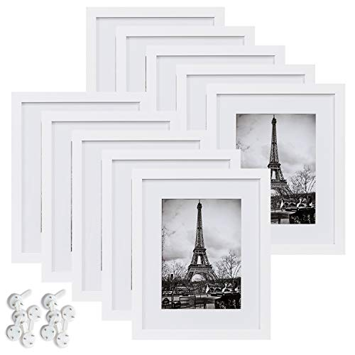 Wholesale Photo Frames (upsimples 8x10 Picture Frame Set of 10,Display Pictures 5x7 with Mat or 8x10 Without Mat,Multi Photo Frames Collage for Wall or Tabletop)