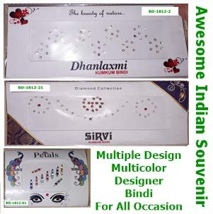 Designer Bindi Stickers Multi Design Multicolor For Daily Wear Party Casual Or Formal Ethnic Elegant Fashionable Style Nose Bindi 3d Nail Art Indian Souvenir Pack Of 3 Bd Grp2 Amazon In Beauty