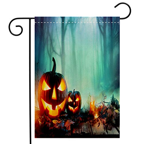BEIVIVI Custom Double Sided Seasonal Garden Flag Pumpkins Burning in A Spooky Forest at Night Halloween Background Garden Flag Waterproof for Party Holiday Home Garden Decor]()